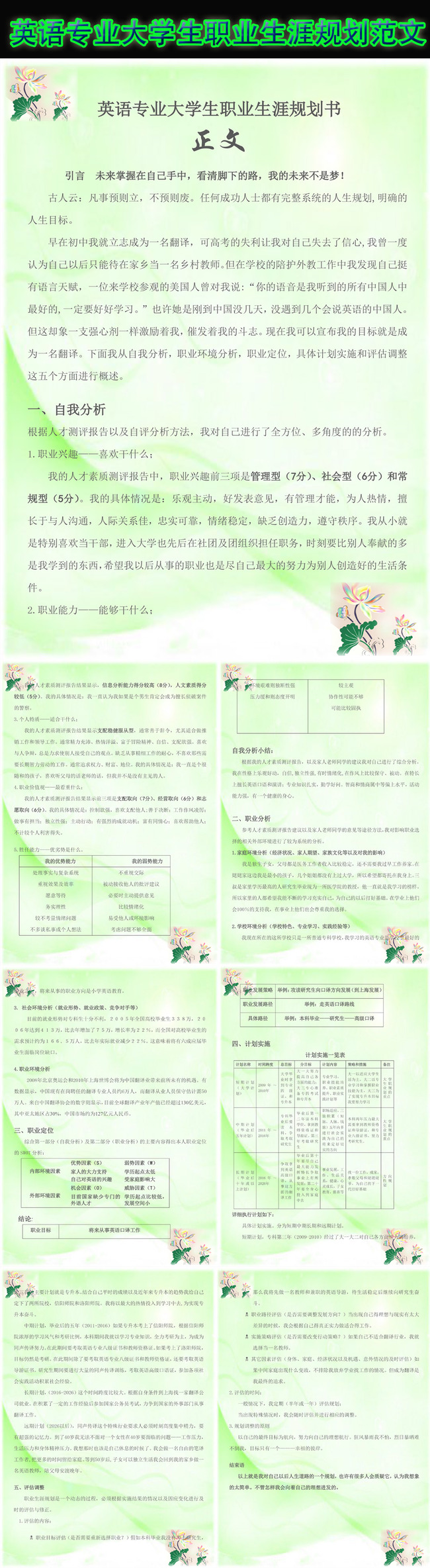英语专业大学生职业生涯规划范文模板下载(图片编号:)