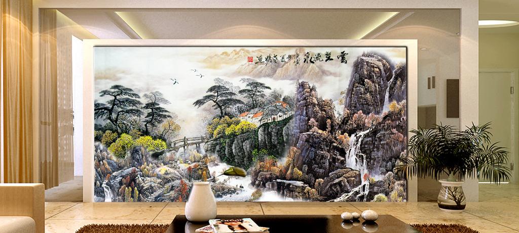 国画水墨画山水画风景画中国画影壁墙壁画
