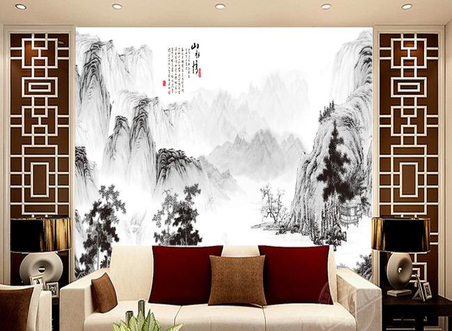 电视背景墙定制壁纸山水画没有分层图