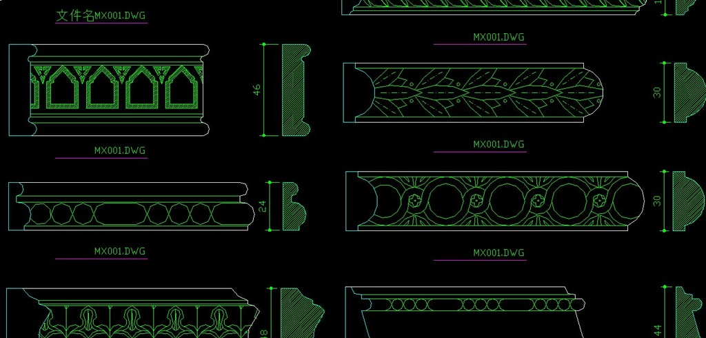 雕花木线条cad图集模板下载 雕花木线条cad图集图片下载 木线条 实木