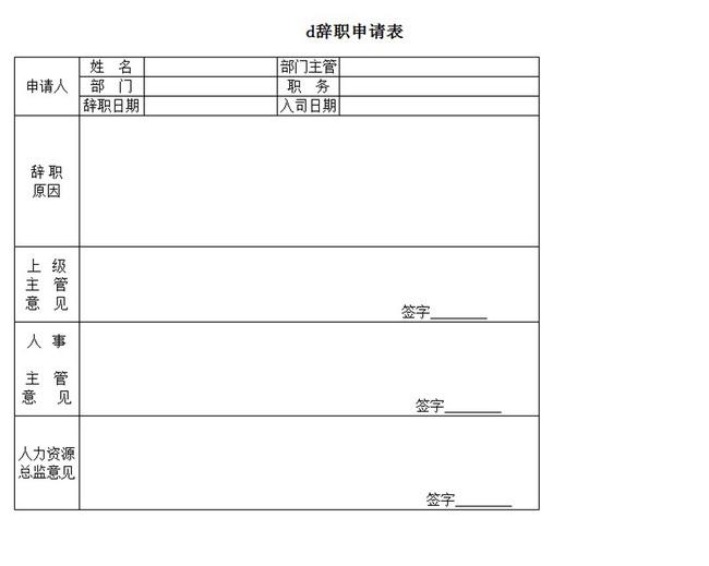 辞职申请表word模板下载