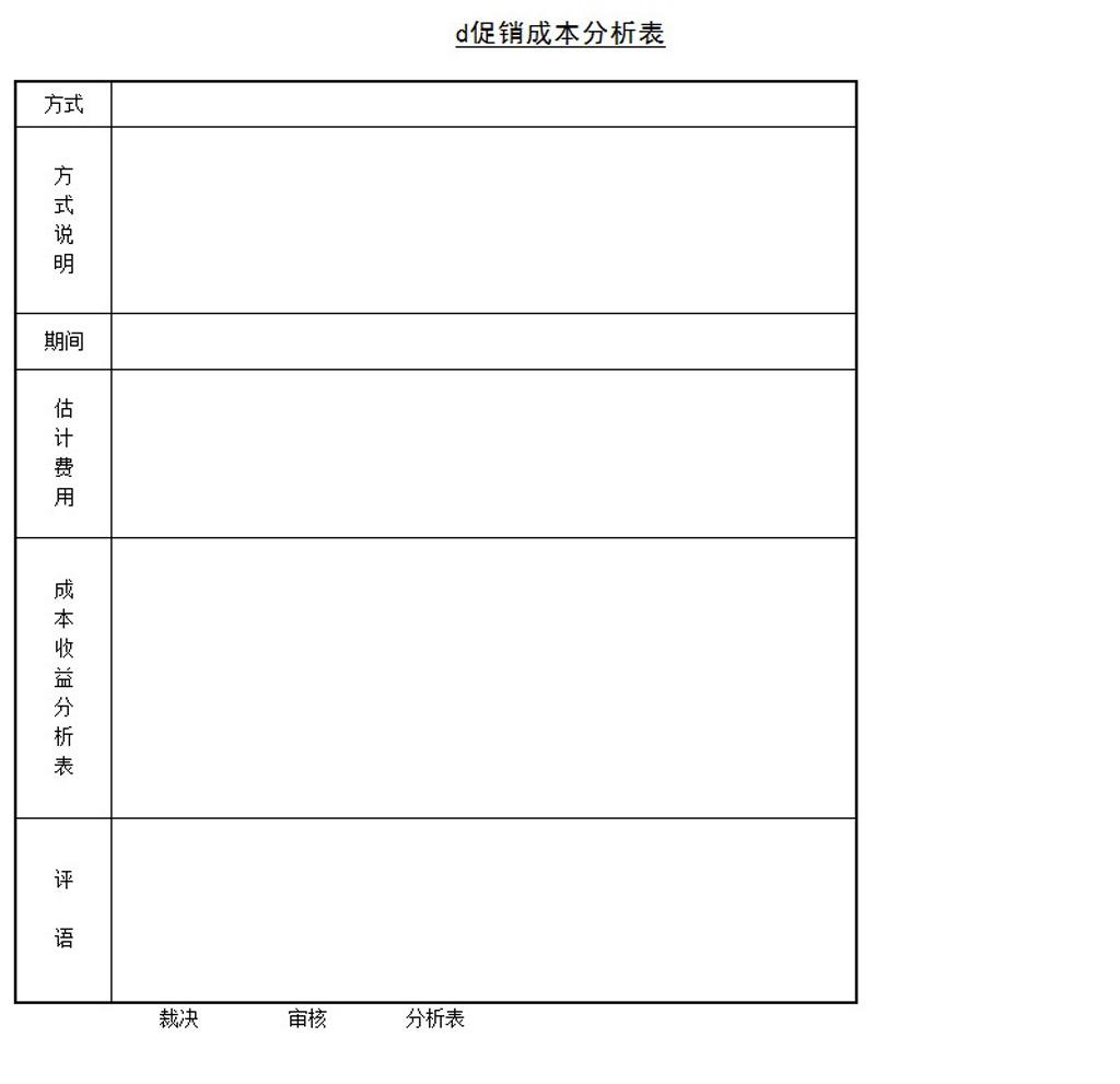 促销成本分析表促销成本分析表 word表格