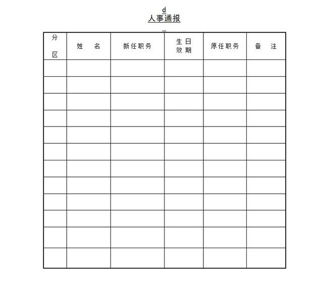 人事通报word模板下载