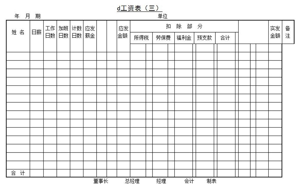 工资表word模板下载