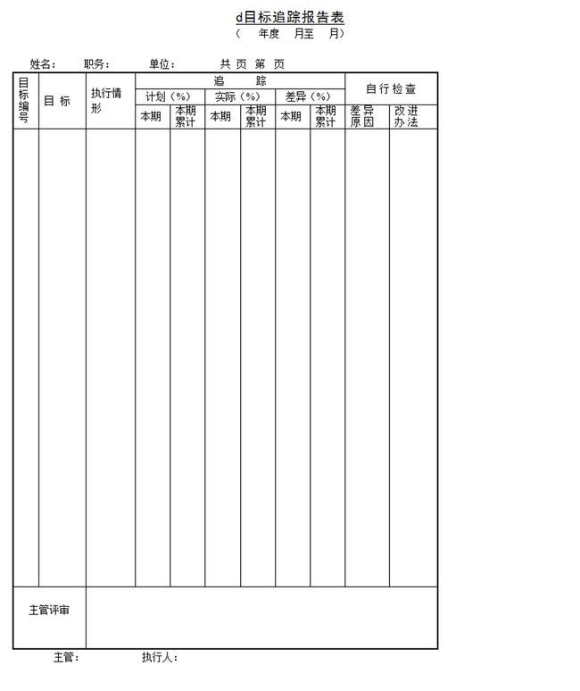 目标追踪报告表word模板下载