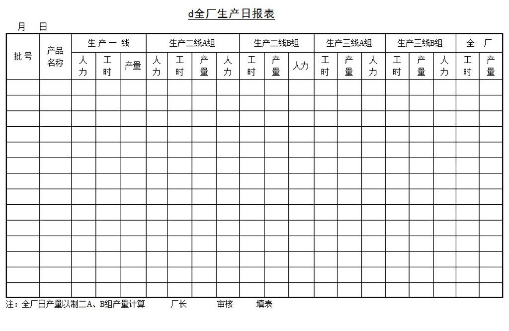 全厂生产日报表word模板下载