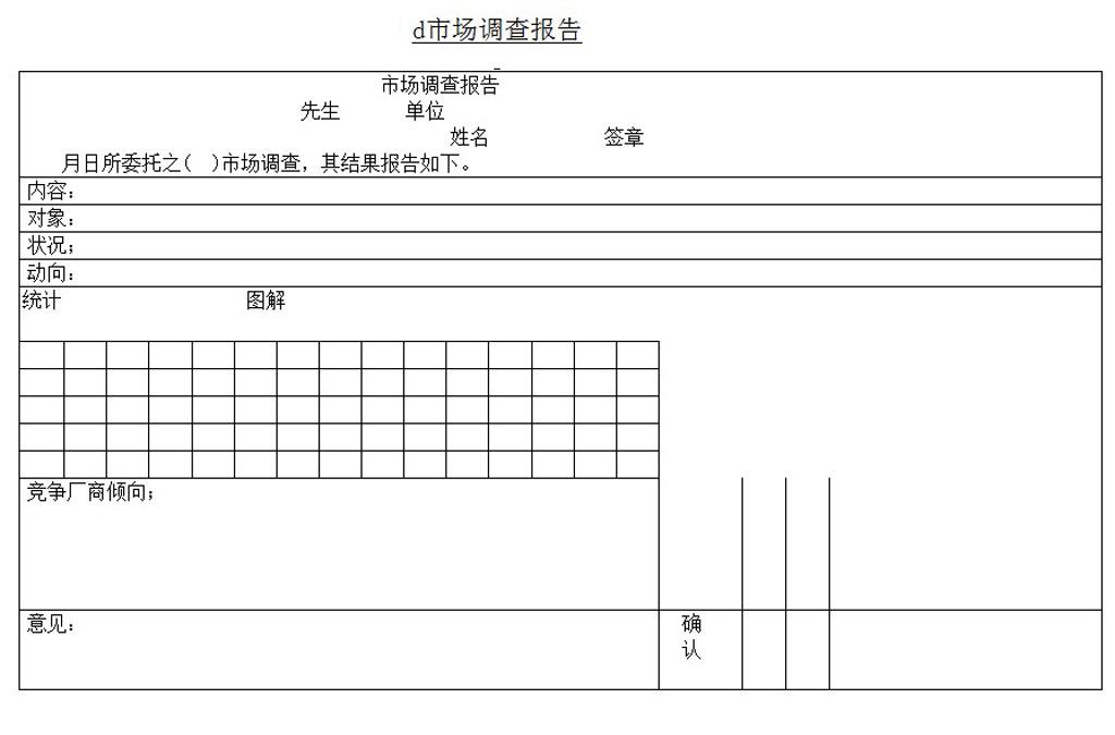 市场调查报告word模板下载