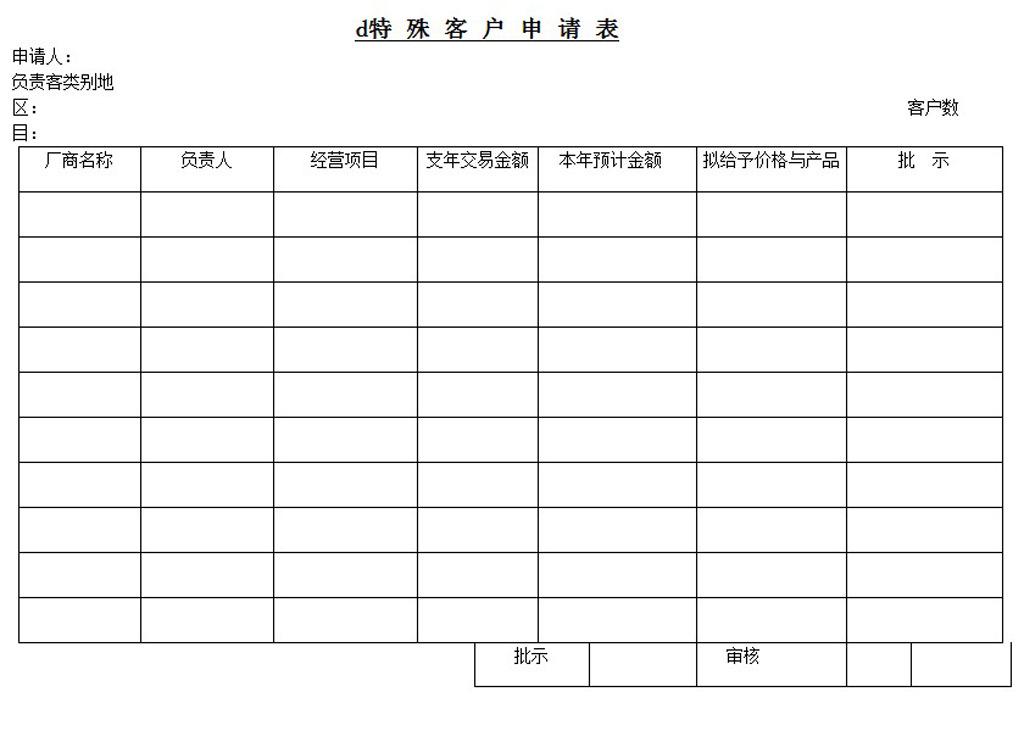 特殊客户申请表word模板下载