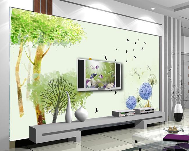 手绘树林电视背景墙图片素材