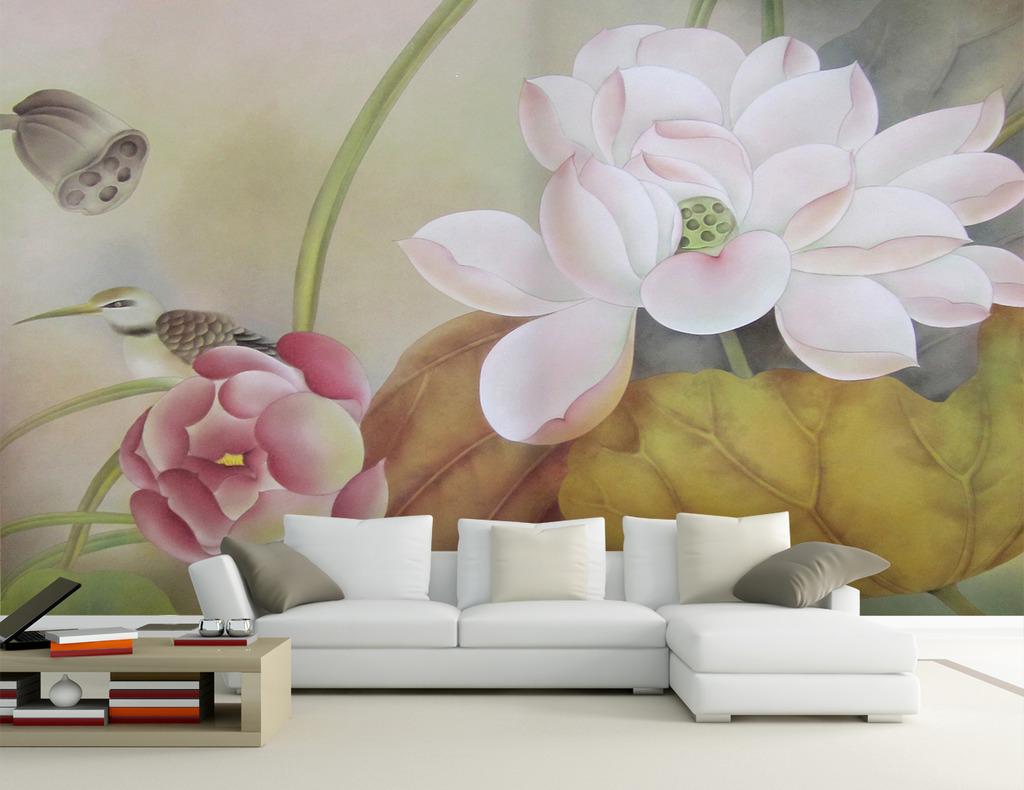 荷花 精美 中式风格装修图 沙发背景墙 书房背景墙 卧室背景墙 壁画图片