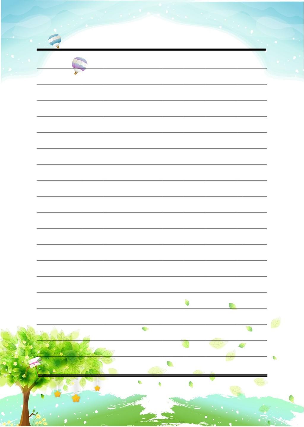 手绘树信纸模板下载 手绘树信纸图片下载 信纸图片下载
