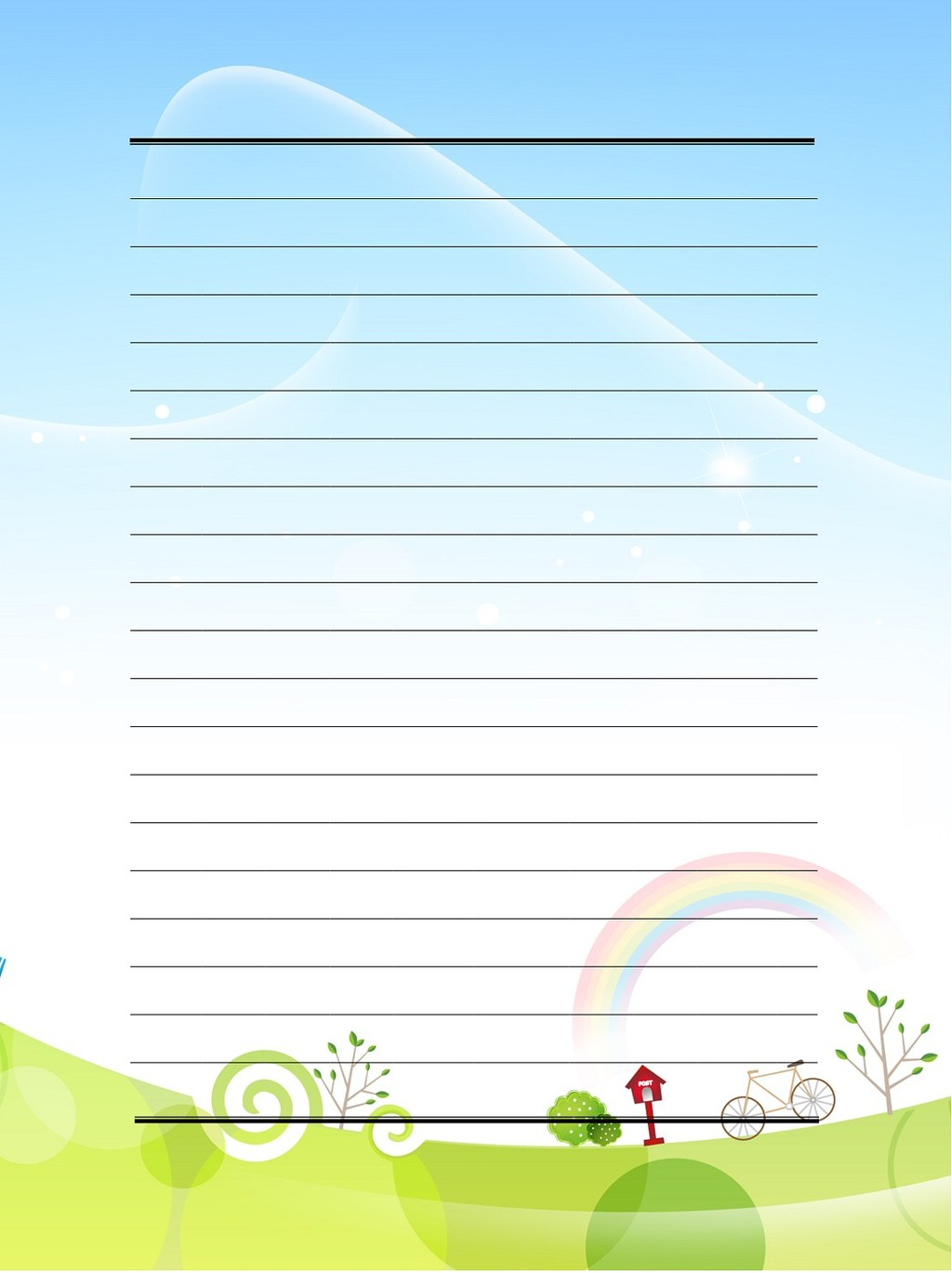 卡通风景信纸