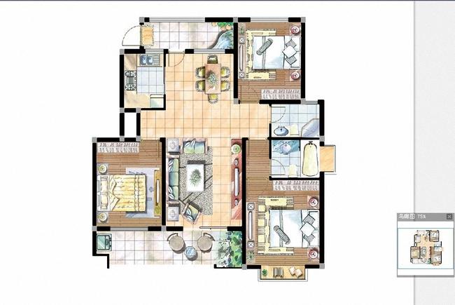 经典三室一厅高清户型图