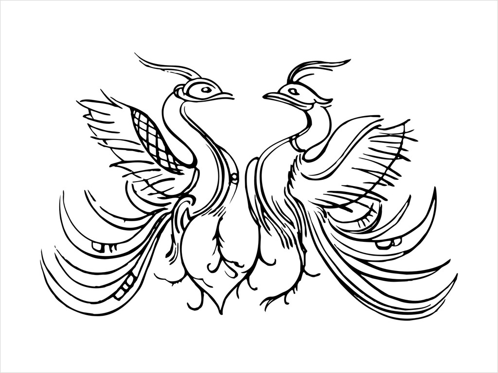 平面设计 其他 图片素材 > 剪纸凤求凰单色孔雀飞鸟矢量cdr源文件  下图片