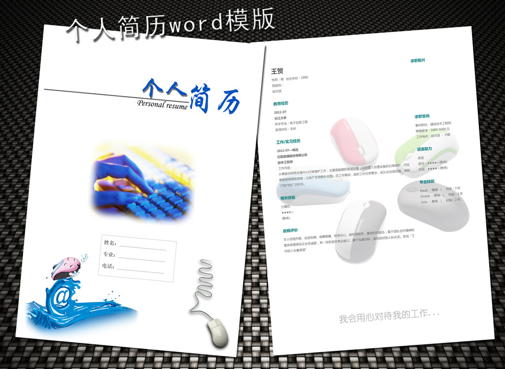 电子信息专业简历模板word下载图片
