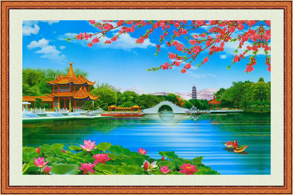 鹤 仙鹤 瀑布 源远流长 聚宝盆 背景墙 风景画 风光画 中国画 山水画