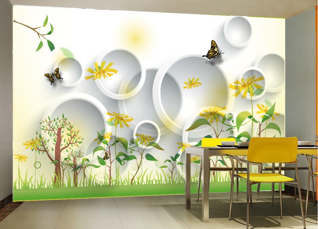 3d花卉电视背景墙