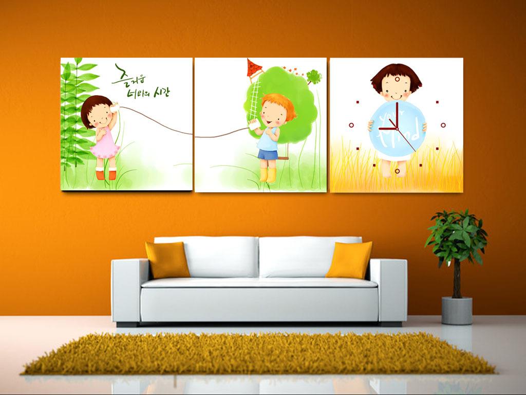 卡通人物室内壁画图片