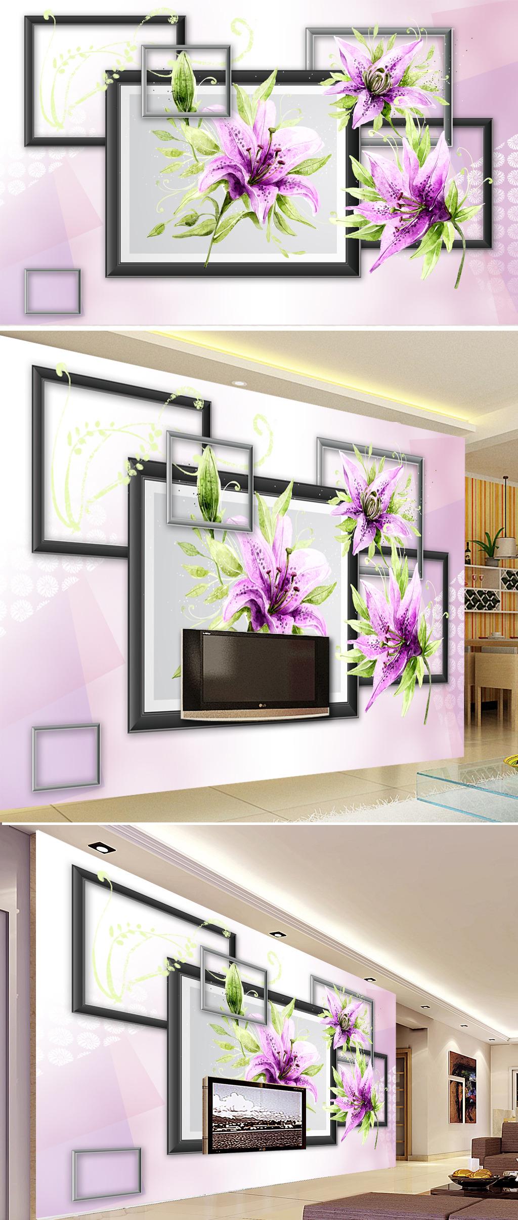 水彩手绘花卉3d电视背景墙