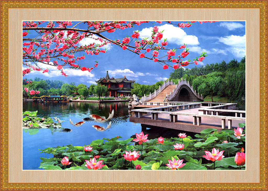 西湖美景风景画电视背景墙装饰画psd
