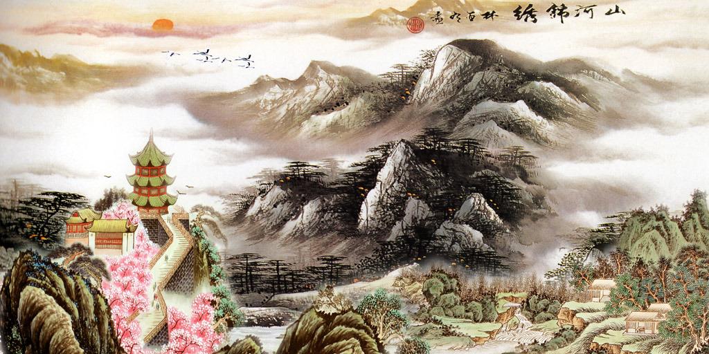 山水/国画山水画水墨画山水风景画山水国画壁画模板下载