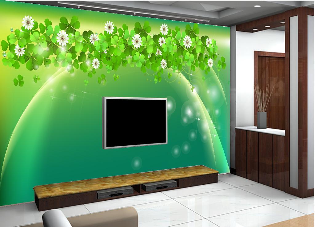 绿色四叶草电视背景墙