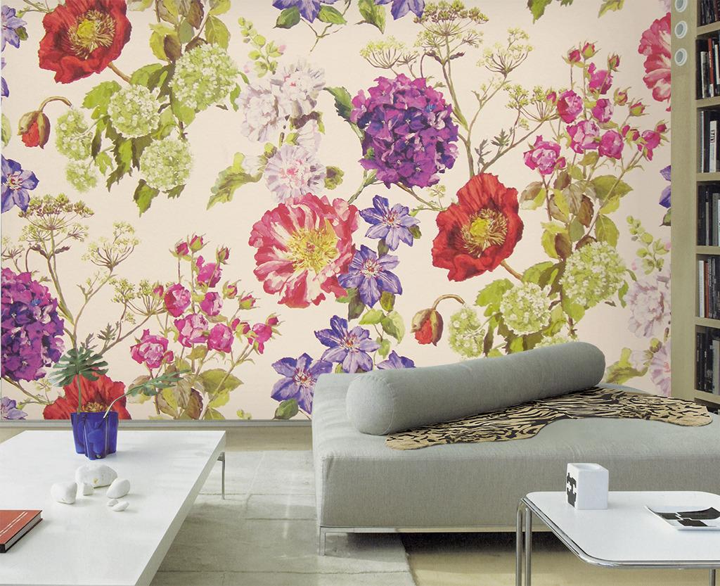 手绘水彩花卉客厅电视背景墙壁纸