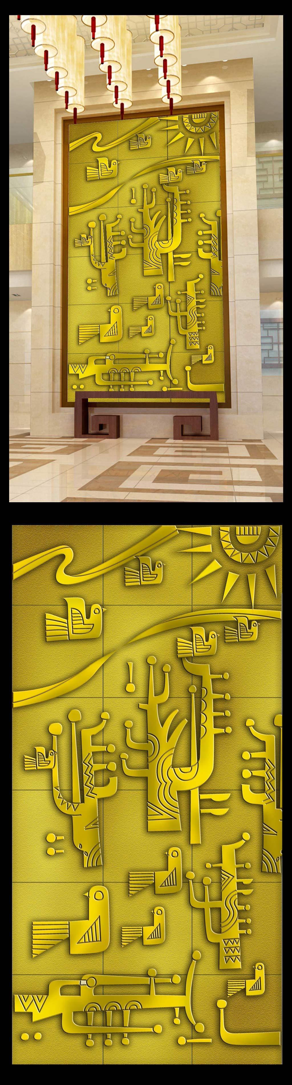 欧式浮雕玄关壁画背景墙设计