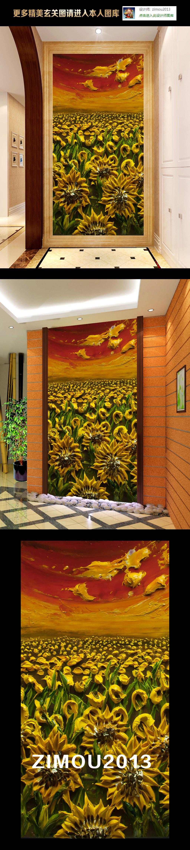 手绘立体月季花朵花卉风景画壁画电视背景墙