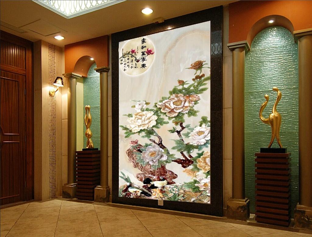 玉雕玄关牡丹背景墙