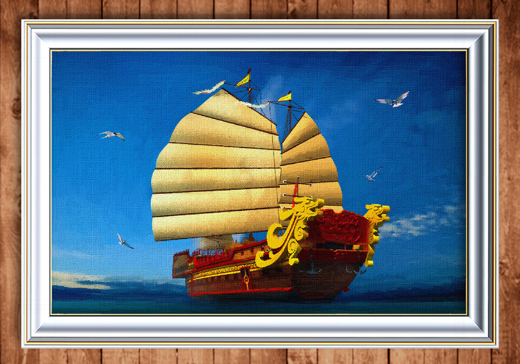 风景/蓝色大海中的帆船风景油画