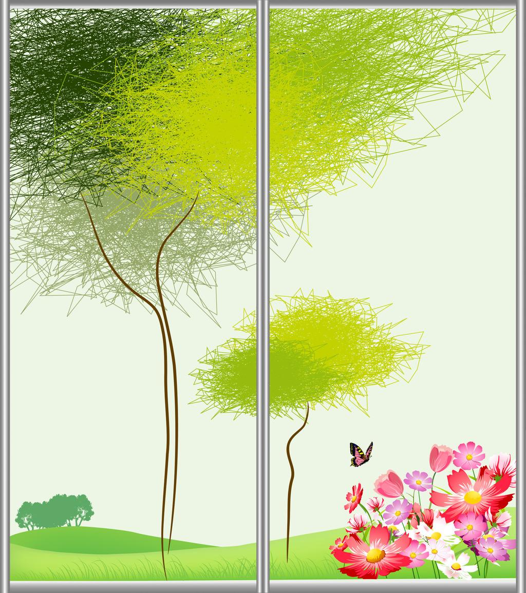 手绘抽象树移门图案