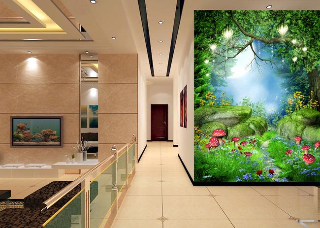 清新通透3d原始森林过道玄关背景墙