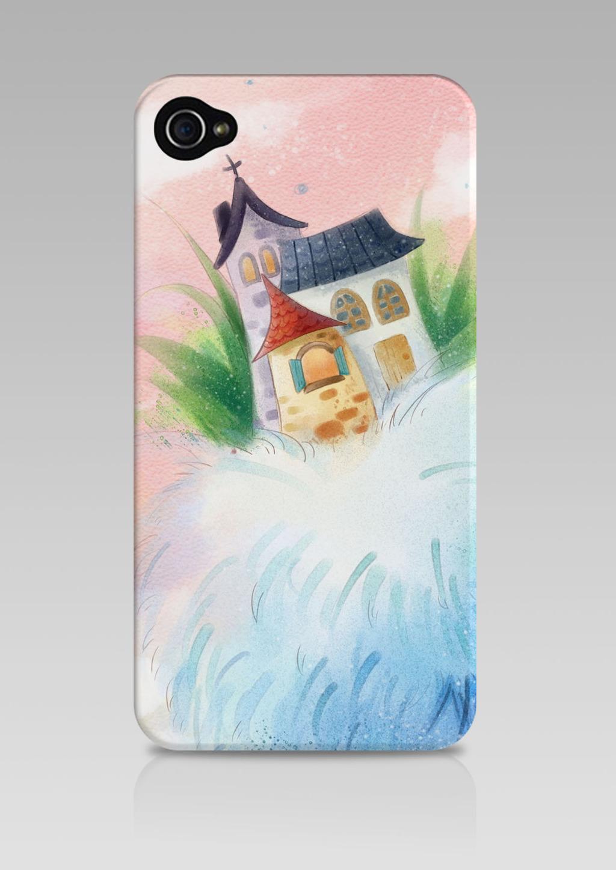 手绘水彩梦幻城堡手机壳设计图片下载 水彩 梦幻 城堡 卡通 粉嫩 手机
