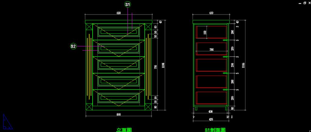 家装别墅卧室欧式五斗柜cad设计图