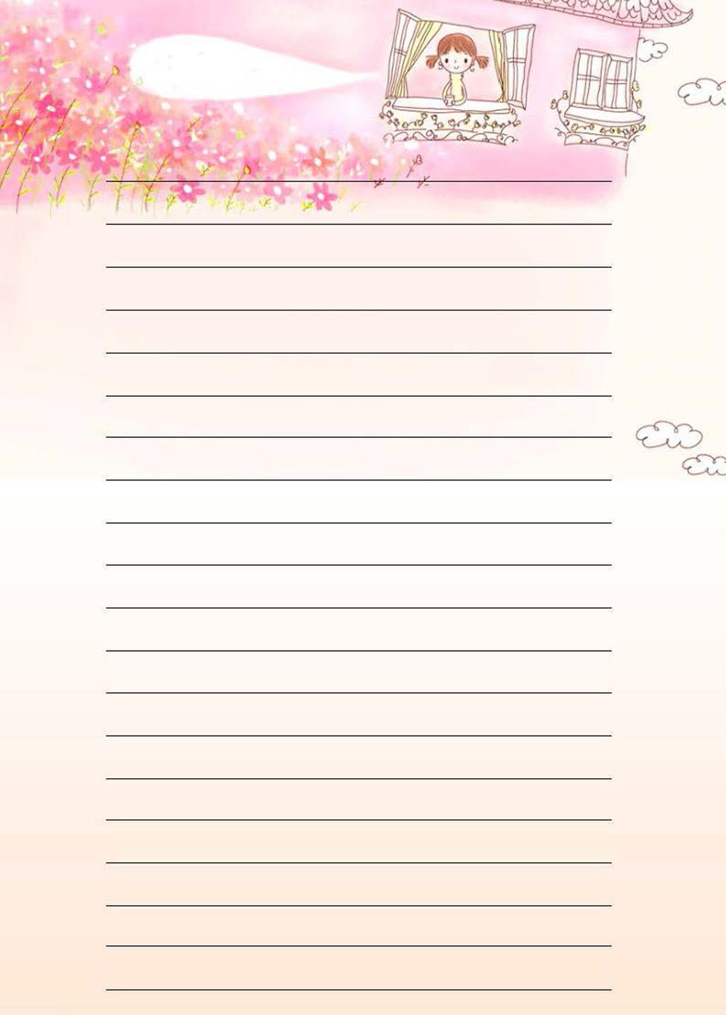 清新淡雅粉色卡通花朵信纸背景模板下载