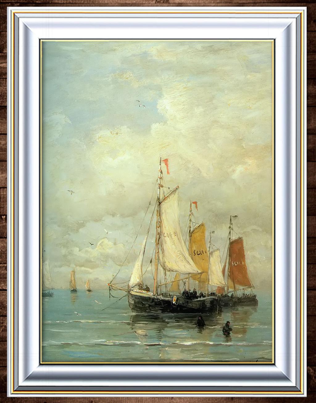古典油画帆船