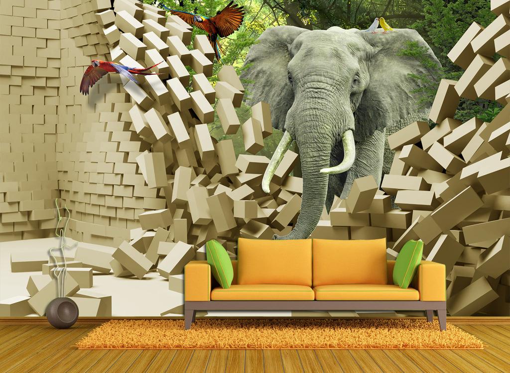 3d立体热带雨林动物背景墙壁画 (1024x750)