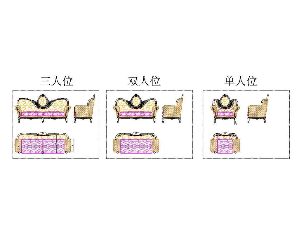 经典法式沙发cad文件模板下载