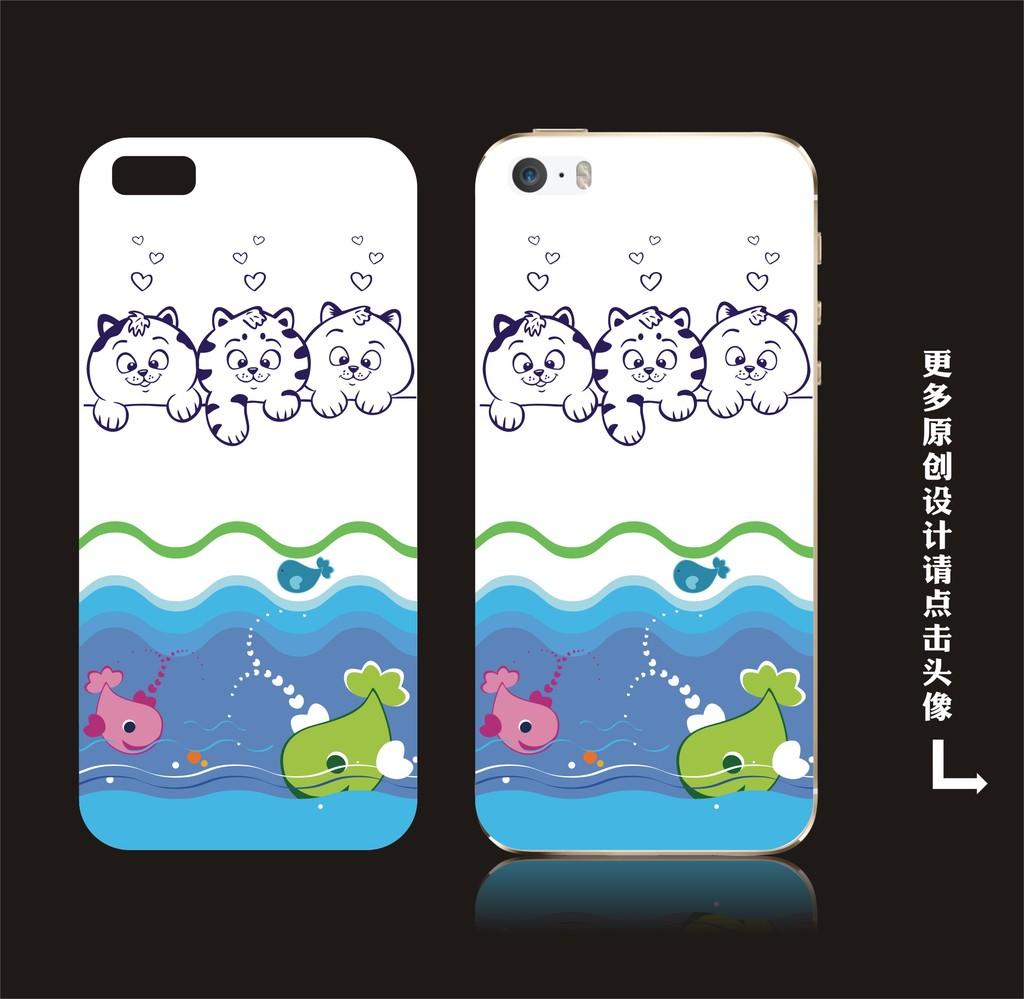 小清新手机壳 日韩风手机壳 手机套 手机壳图案 手机壳底纹可爱猫咪