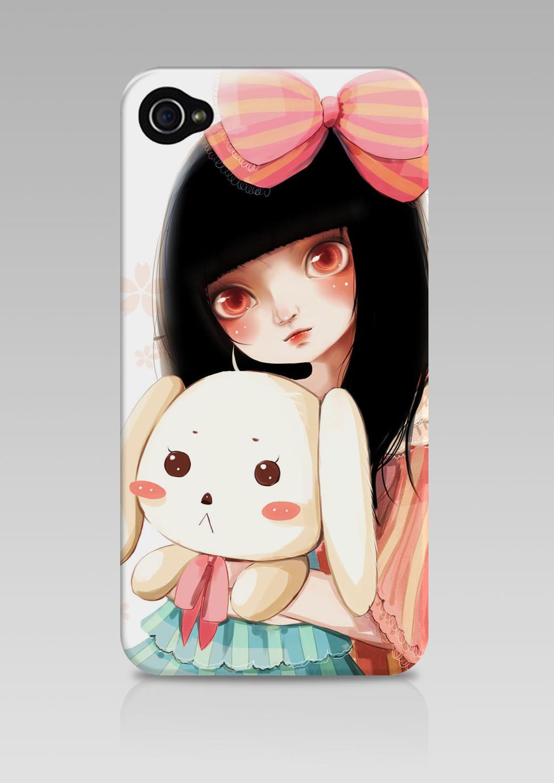 手绘女孩与宠物插画手机壳设计