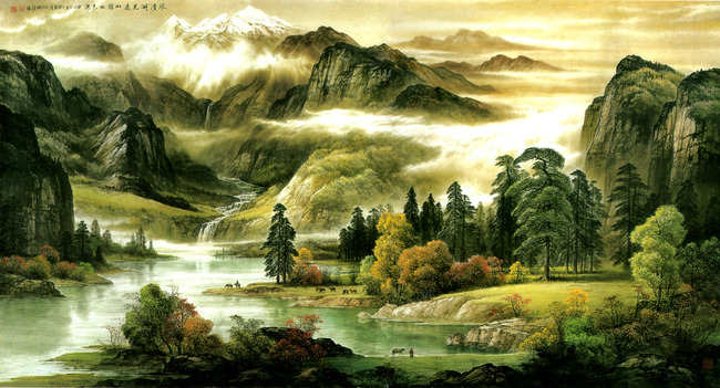 中式山水画沙发背景墙图片