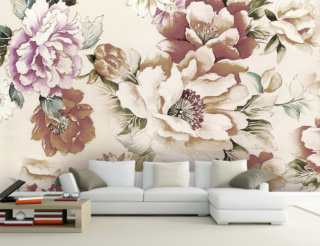 手绘水彩花卉客厅电视背景墙