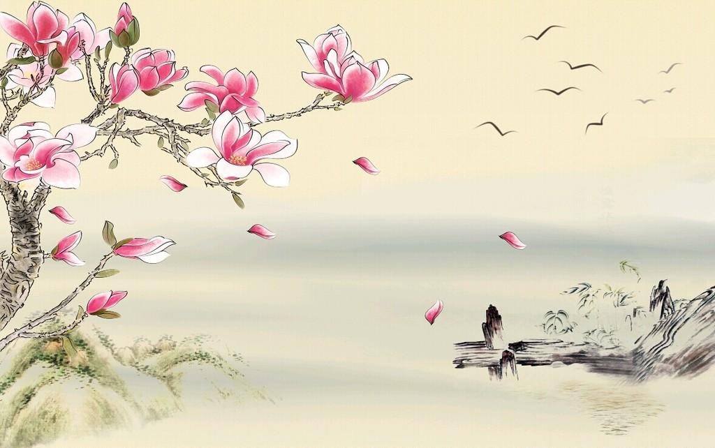 中式花鸟画贴图-壁纸 水墨木兰