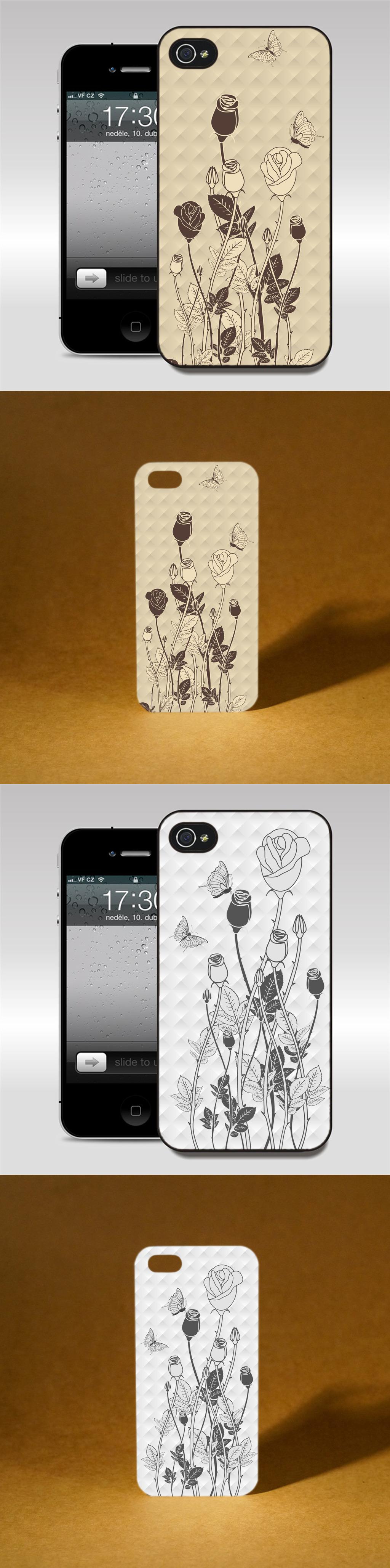个性手机壳矢量手绘花朵图案设计