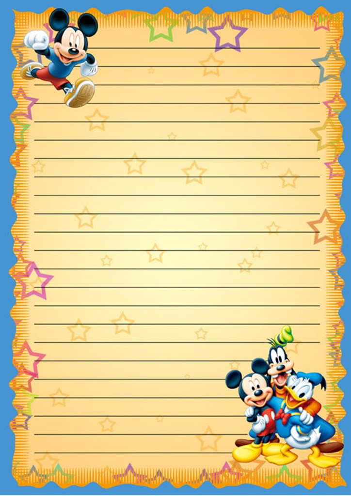 卡通米老鼠信纸背景word模板
