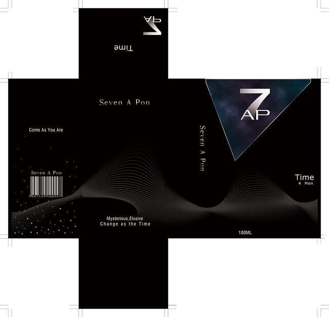 黑色香水包装盒设计模板 psd