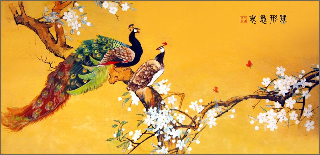 花卉孔雀工笔画模板下载(图片编号:12240149)_装饰画