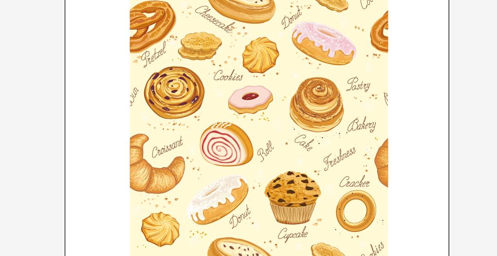 面包和蛋糕无缝背景矢量背景墙模板下载(图片编号:)