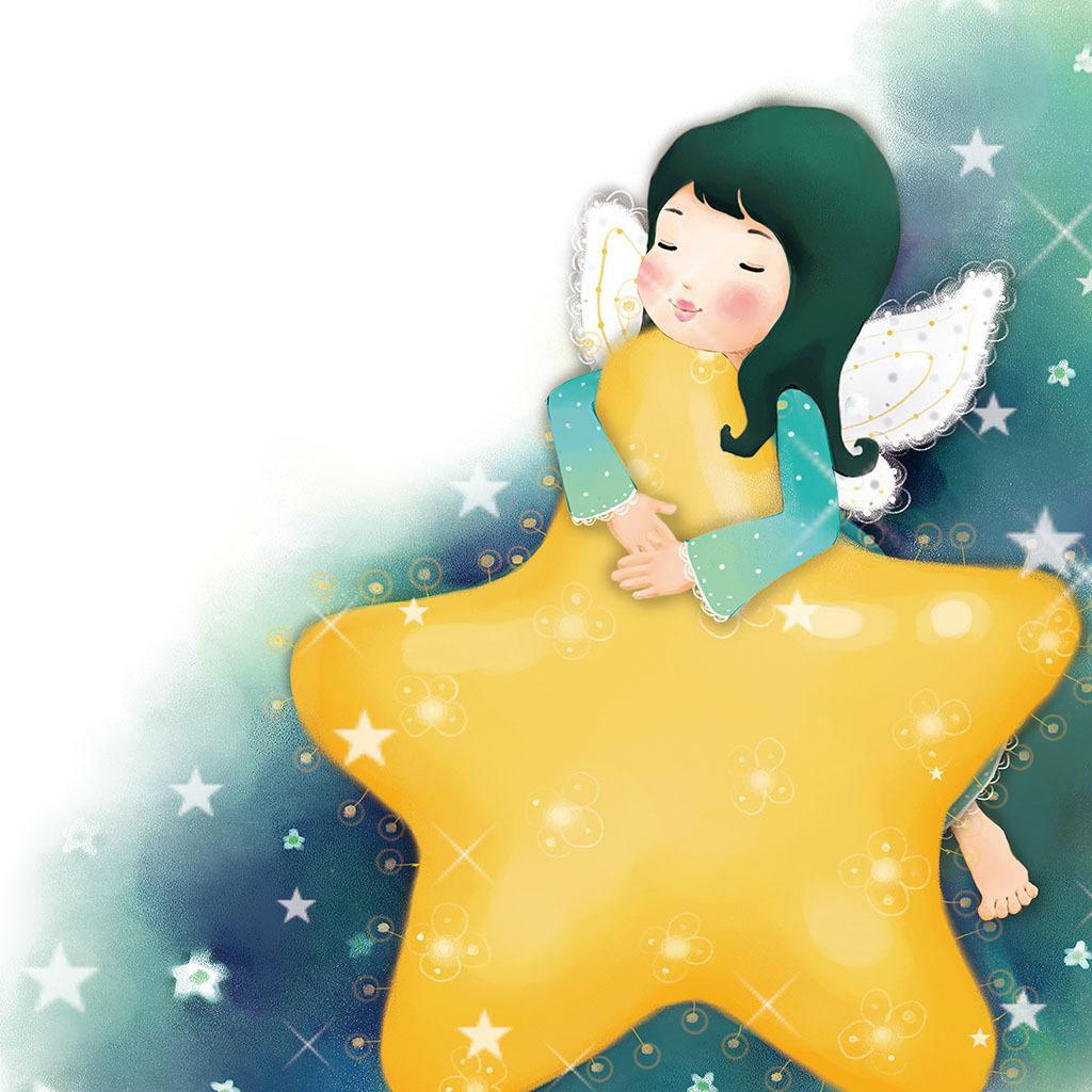 星星月亮卡通人物男女壁画装饰画中堂画背景
